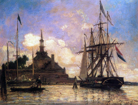 Johan Barthold Jongkind The Port of Rotterdam - Hand Painted Oil Painting