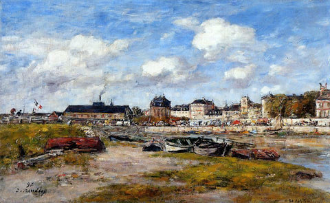 Eugene-Louis Boudin The Port of Trouville, Low Tide - Hand Painted Oil Painting