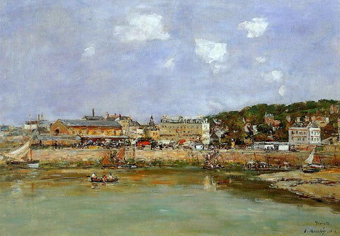 Eugene-Louis Boudin The Port of Trouville, the Market Place and the Ferry - Hand Painted Oil Painting