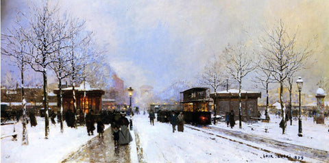 Luigi Loir The Porte Maillot, Snow Effect, Sunset - Hand Painted Oil Painting