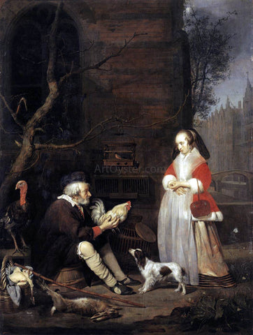 Gabriel Metsu The Poultry Seller - Hand Painted Oil Painting