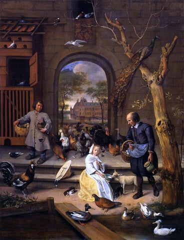 Jan Steen The Poultry Yard - Hand Painted Oil Painting