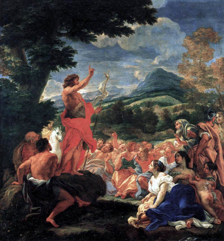 Baciccio The Preaching of St John the Baptist - Hand Painted Oil Painting