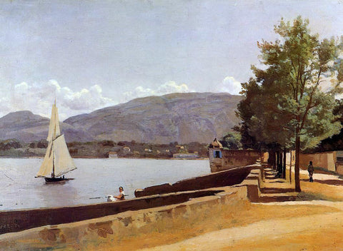 Jean-Baptiste-Camille Corot The Quai des Paquis in Geneva - Hand Painted Oil Painting