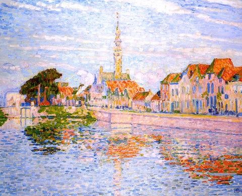 Theo Van Rysselberghe The Quay at Verre, Zeeland - Hand Painted Oil Painting