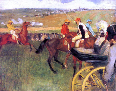 Edgar Degas The Racecourse, Amateur Jockeys - Hand Painted Oil Painting