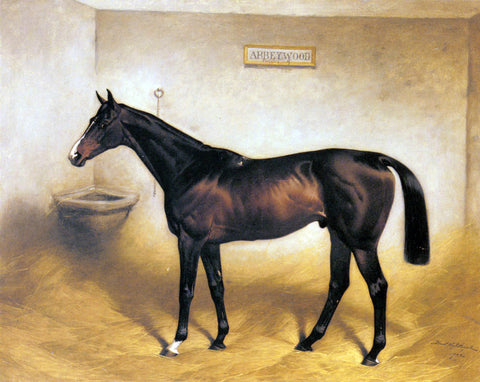 Basil Nightingale The Racehorse Abbeywood In A Stable - Hand Painted Oil Painting
