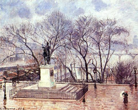 Camille Pissarro The Raised Terrace of the Pont-Neuf, Place Henri IV: Afternoon, Rain - Hand Painted Oil Painting