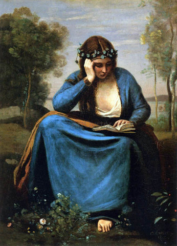 Jean-Baptiste-Camille Corot The Reader Wreathed with Flowers (Virgil's Muse) - Hand Painted Oil Painting