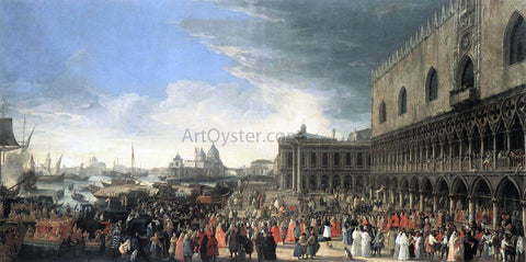 Luca Carlevaris The Reception of Cardinal Cesar d'Estrees - Hand Painted Oil Painting