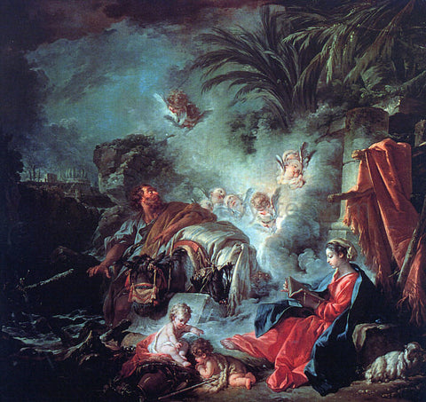 Francois Boucher The Rest on the Flight into Egypt - Hand Painted Oil Painting