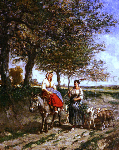 Jules Jacques Veyrassat The Return Home - Hand Painted Oil Painting