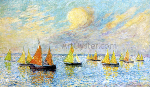 Ferdinand Du Puigaudeau The Return of the Fishing Fleet, Croisic - Hand Painted Oil Painting