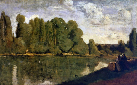 Jean-Baptiste-Camille Corot The Rhone - Three Women on the Riverbank Seated on a Tree Trunk - Hand Painted Oil Painting