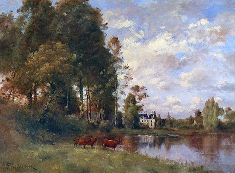 Paul Desire Trouillebert The River - Hand Painted Oil Painting