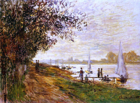 Claude Oscar Monet The Riverbank at Le Petit-Gennevilliers, Sunset - Hand Painted Oil Painting