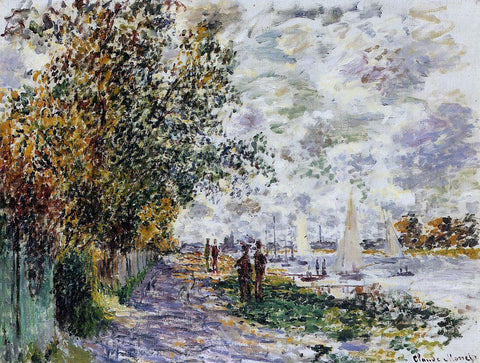 Claude Oscar Monet The Riverbank at Petit-Gennevilliers - Hand Painted Oil Painting