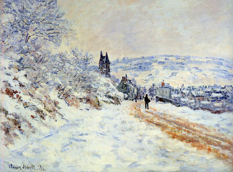 Claude Oscar Monet The Road to Vetheuil, Snow Effect - Hand Painted Oil Painting