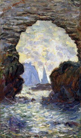 Claude Oscar Monet The Rock Needle Seen through the Porte d'Aumont - Hand Painted Oil Painting