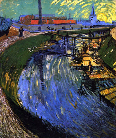 Vincent Van Gogh The Roubine du Roi Canal with Washerwomen - Hand Painted Oil Painting