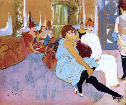 Henri De Toulouse-Lautrec The Salon in the Rue des Moulins - Hand Painted Oil Painting