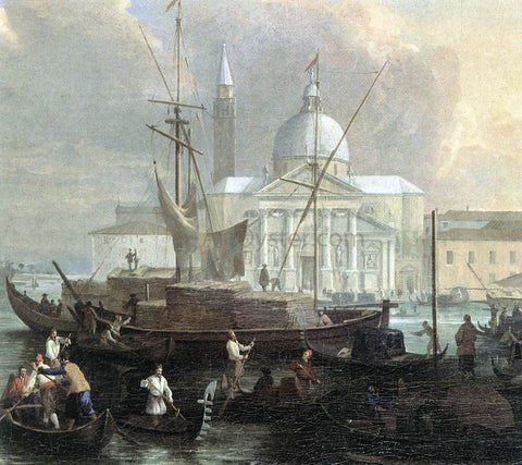 Luca Carlevaris The Sea Custom House with San Giorgio Maggiore (detail) - Hand Painted Oil Painting