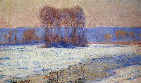 Claude Oscar Monet The Seine at Bennecourt in Winter - Hand Painted Oil Painting