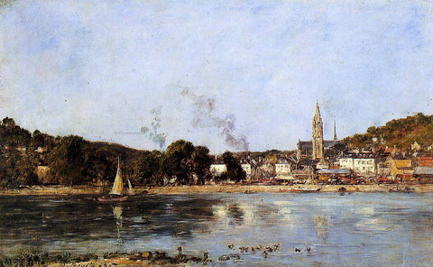 Eugene-Louis Boudin The Seine at Caudebec-en-Caux - Hand Painted Oil Painting