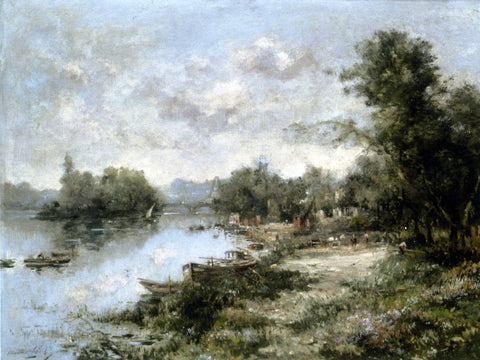 Maurice Levis The Seine at Courevoie - Hand Painted Oil Painting