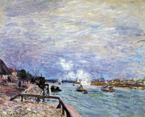 Alfred Sisley The Seine at Grenelle - Rainy Wether - Hand Painted Oil Painting
