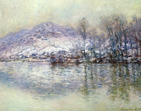 Claude Oscar Monet The Seine at Port Villez, Snow Effect - Hand Painted Oil Painting