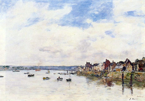 Eugene-Louis Boudin The Seine at Quillebeuf - Hand Painted Oil Painting