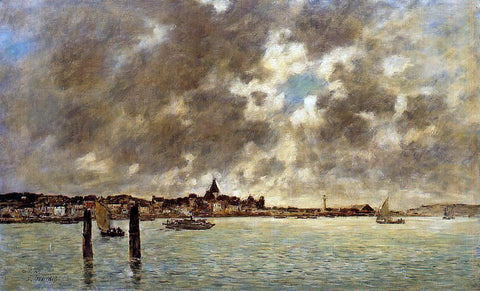 Eugene-Louis Boudin The Seine at Quilleboeuf - Hand Painted Oil Painting