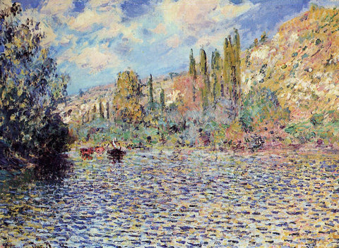 Claude Oscar Monet The Seine at Vetheuil - Hand Painted Oil Painting