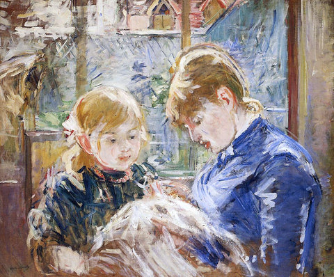 Berthe Morisot The Sewing Lesson (also known as The Artist's Daughter, Julie, with Her Nanny) - Hand Painted Oil Painting