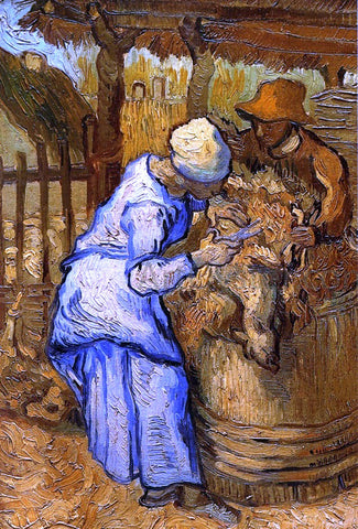 Vincent Van Gogh The Sheep-Shearers (after Millet) - Hand Painted Oil Painting