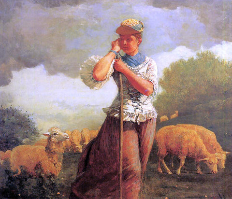 Winslow Homer The Shepherdess (also known as The Shepherdess of Houghton Farm) - Hand Painted Oil Painting