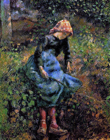 Camille Pissarro The Shepherdess (also known as Young Peasant Girl with Stick) - Hand Painted Oil Painting