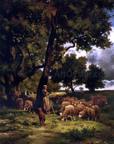 Charles Emile Jacque The Shepherdess and Her Flock - Hand Painted Oil Painting