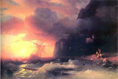 Ivan Constantinovich Aivazovsky The Shipwreck near Mountain of Aphon - Hand Painted Oil Painting