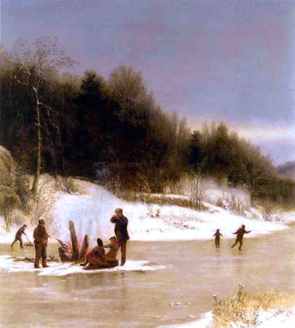Jervis McEntee The Skating Party - Hand Painted Oil Painting