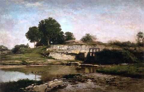 Charles Francois Daubigny The Sluice-gate at Optevoz (Isere) - Hand Painted Oil Painting
