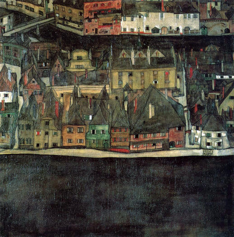 Egon Schiele The Small City II - Hand Painted Oil Painting