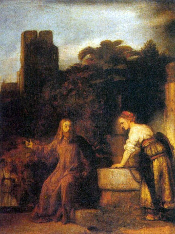 Rembrandt Van Rijn The Samaritan at the Well - Hand Painted Oil Painting