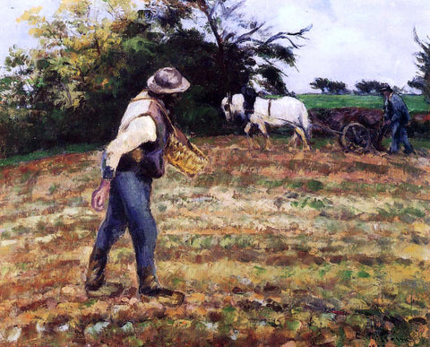 Camille Pissarro The Sower at Montfoucault - Hand Painted Oil Painting