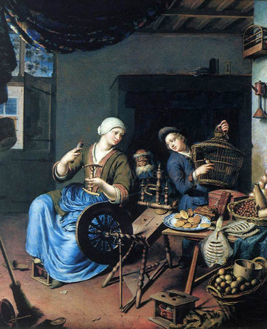 Willem Van Mieris The Spinner - Hand Painted Oil Painting