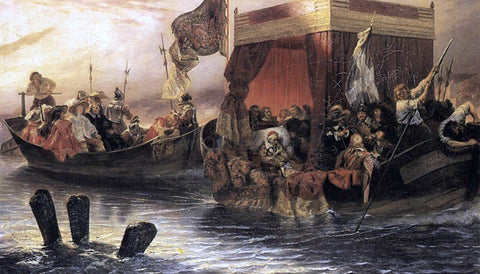 Paul Delaroche The State Barge of Cardinal Richelieu on the Rhone - Hand Painted Oil Painting