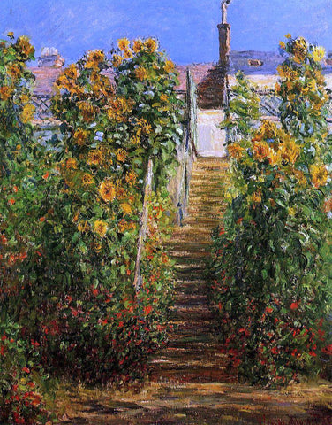 Claude Oscar Monet The Steps at Vetheuil - Hand Painted Oil Painting