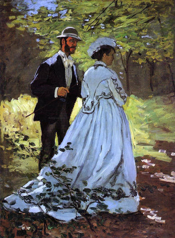 Claude Oscar Monet The Strollers (study for 'Luncheon on the Grass') - Hand Painted Oil Painting