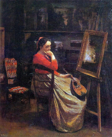 Jean-Baptiste-Camille Corot The Studio (also known as Young Woman with a Mandolin) - Hand Painted Oil Painting